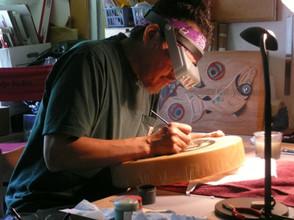 Painting a Deer Skin Drum