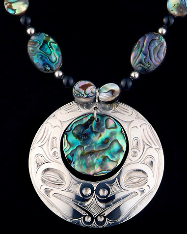 Wolf Sterling Silver / Abalone Pendant & Necklace