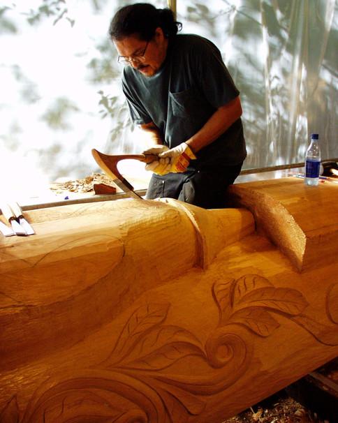 Adzing on a Totem Pole