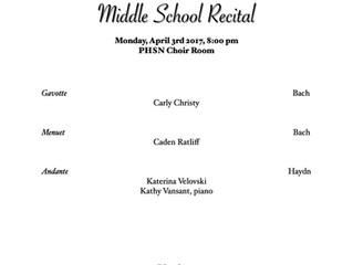 Middle School Studio Recital