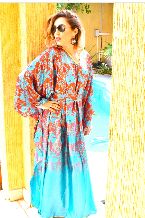 Caftan silk turquoise
