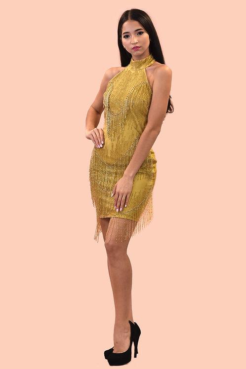 Gold fringe party dress