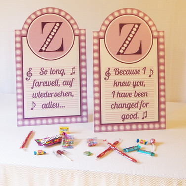 zoe's 'broadway bound' bat mitzvah candy bar signage