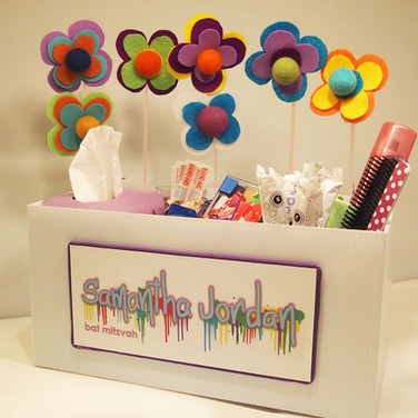 sam's 'paint drips' bat mitzvah ladies room box