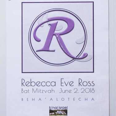 rebecca's 'lavender candy girl' bat mitzvah service program