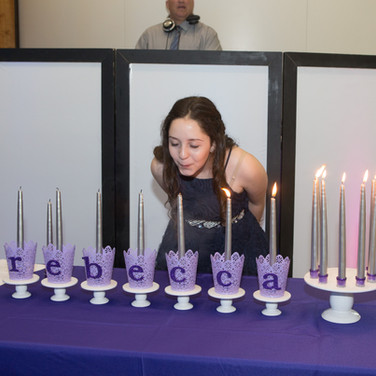 rebecca's 'lavender candy girl' bat mitzvah candle lighting