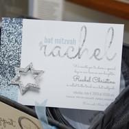 rachel's 'icy cool sparkle' bat mitzvah invitation