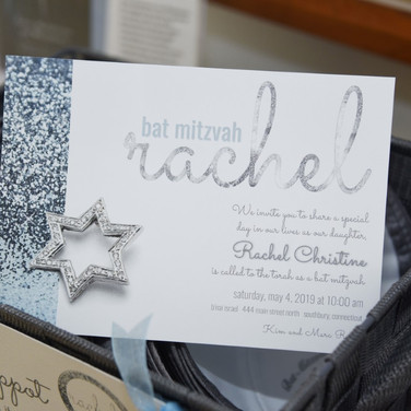 rachel's 'icy cool sparkle' bat mitzvah invitation