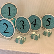 ava's 'fave color' bat mitzvah table numbers