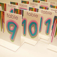 sam's 'paint drips' bat mitzvah table numbers