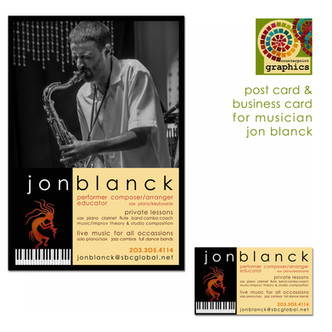 jon blanck musician - business card and promotional piece