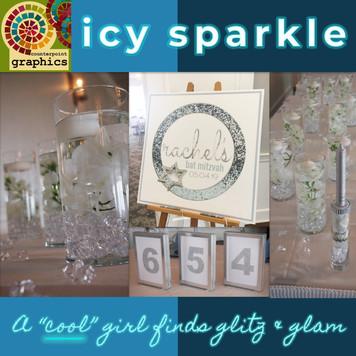rachel's 'icy cool sparkle' bat mitzvah décor