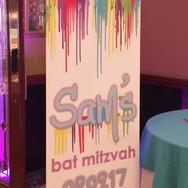 sam's 'paint drips' bat mitzvah floor banner