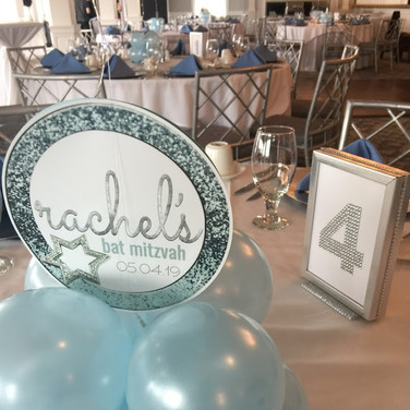 rachel's 'icy cool sparkle' bat mitzvah décor
