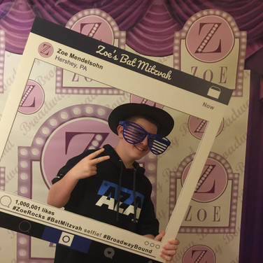 zoe's 'broadway bound' bat mitzvah photo booth backdrop / ste & repeat banner / selfie frame