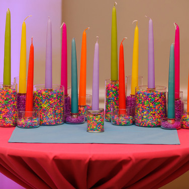 sam's 'paint drips' bat mitzvah candle-lighting