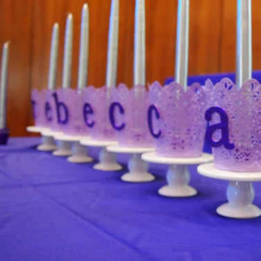 rebecca's 'lavender candy girl' bat mitzvah candle-lighting