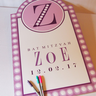 zoe's 'broadway bound' bat mitzvah sign in / signingboard