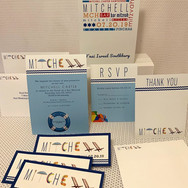 mitchell's 'poolparty' bar mitzvah invitation suite