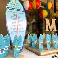 mitchell's 'poolparty' bar mitzvah seating cards