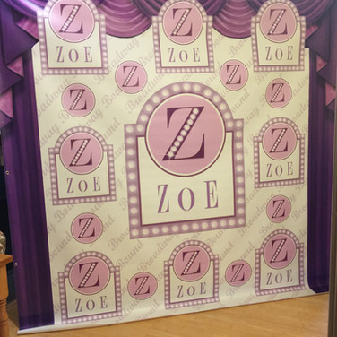 zoe's 'broadway bound' bat mitzvah photo booth backdrop / step & repeat banner