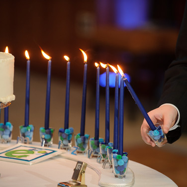 ethan's club 'e' bar mitzvah candle-lighting