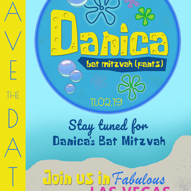 danica's 'bat mitzvah (pants) / spongebob theme bat mitzvah save the date