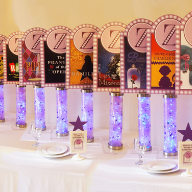 zoe's 'broadway bound' bat mitzvah centerpieces