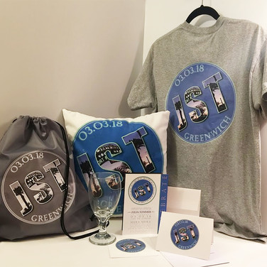 julia's 'greenwich meets santa monica' bat mitzvah printed items - signing pillow, sports bag, t-shirt, invitation suite