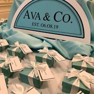 ava's 'fave color' bat mitzvah seating / escort card display