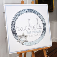 rachel's 'icy cool sparkle' bat mitzvah signing board / sign in board