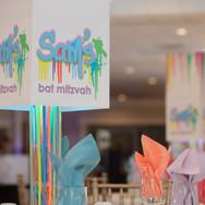 sam's 'paint drips' bat mitzvah centerpiecess