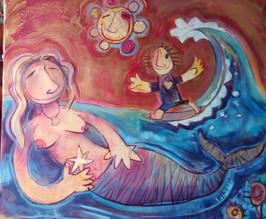 Sirena, estrella y surfer