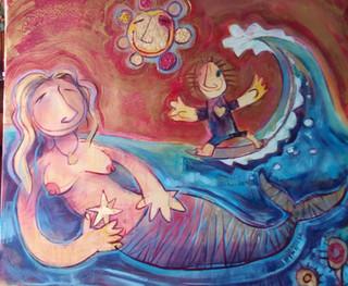 Sirena, estrellas y surfista