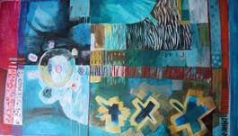 Abstracto en azules con tres estrellas