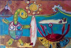 La tortuga y el cangrejo - surfeando