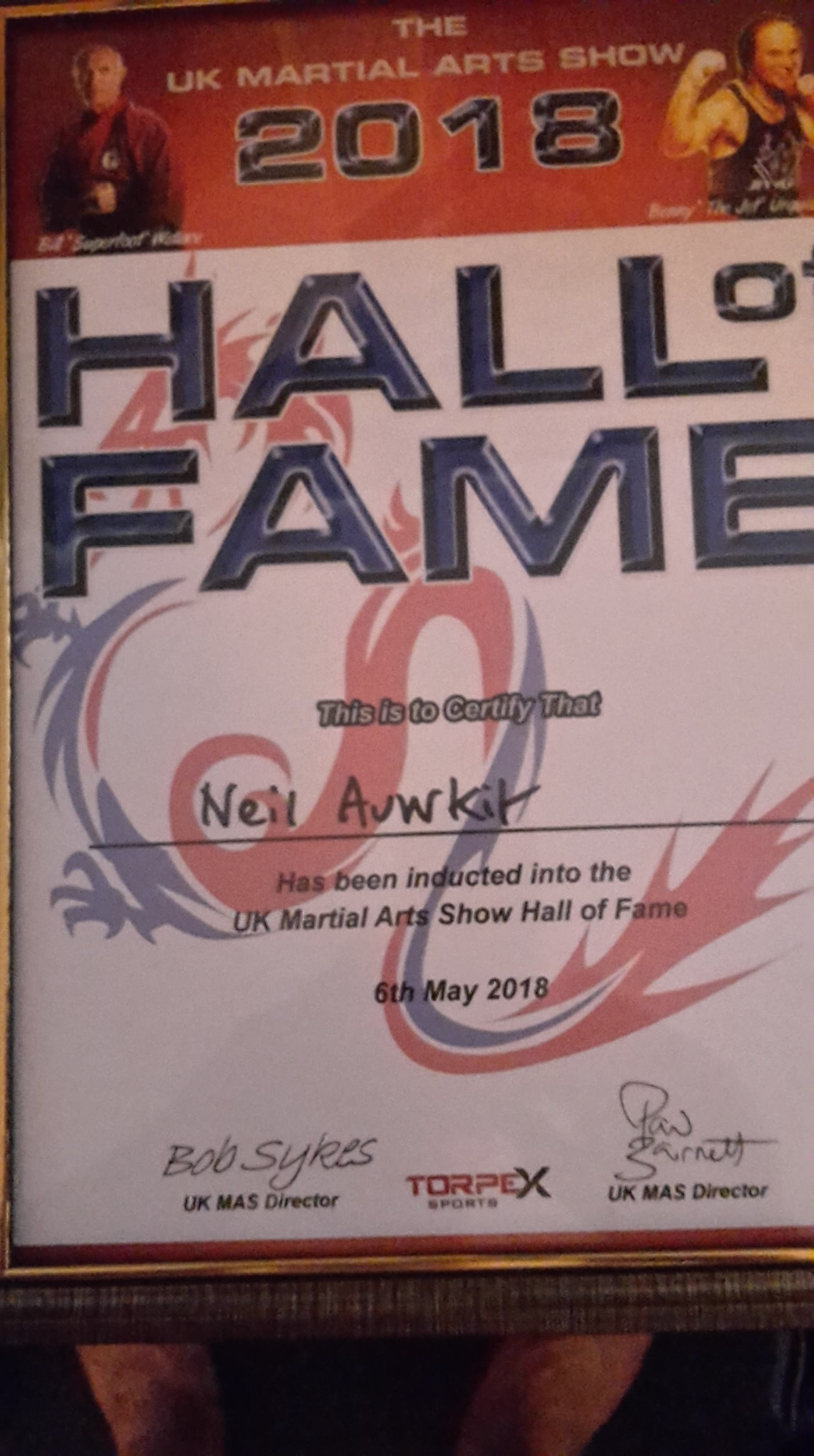 Neil - Hall of Fame (UK Martial Arts)
