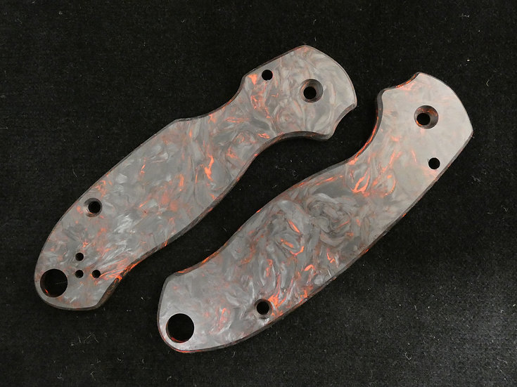 Spyderco Para 3 Dark Matter Red Carbon Fiber Custom Scales