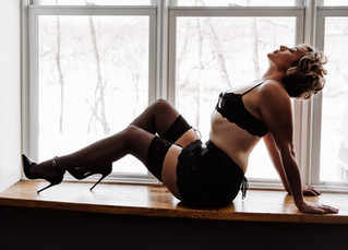 thigh hight socks leather lingerie and short hair in natural light