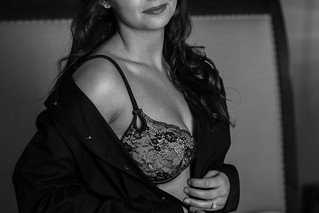 boudoir with your husbands shirt, black and white