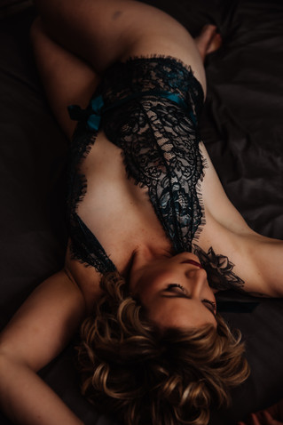 teal lingerie dark and moody boudoir photography