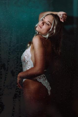 white lingerie in the bridal boudoir shoot in the shower scene