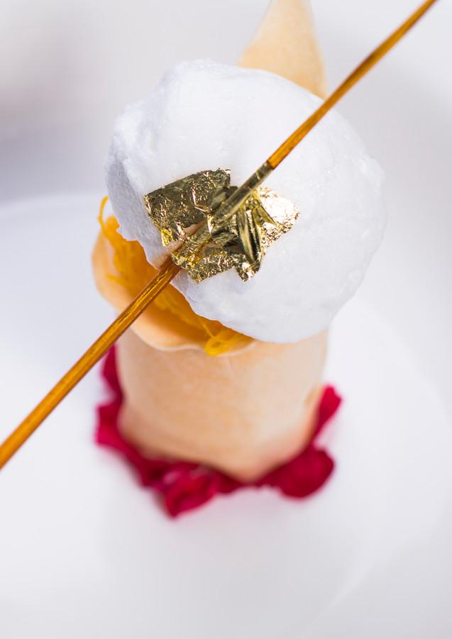 Coconut Ice Cream with Egg Yolk Thread