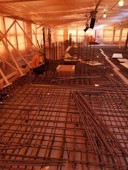 Water reservoir raft slab rebar install.