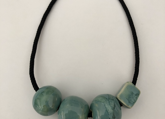 Jade green glazed ceramic beads