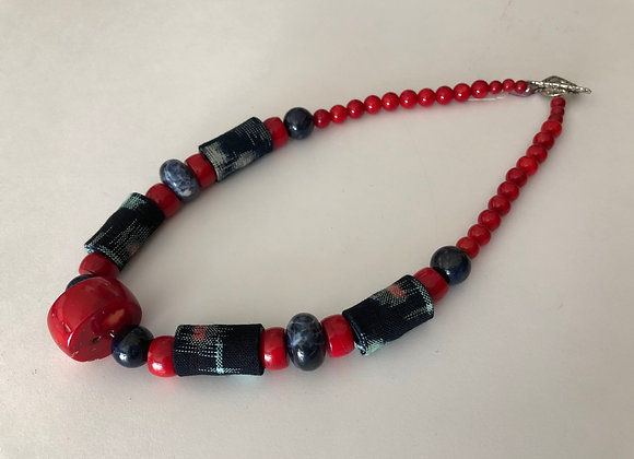 Red coral and lapis with Japanese Kasuri fabric
