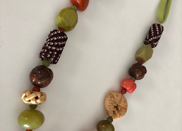 Green/brown long necklace with Japanese fabric cord and mixed beads