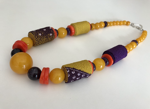 Yellow jade, orange coral, and amethyst with Japanese Chirimen fabric