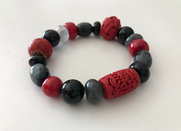 Faux red cinnabar, red coral, and smokey quartz