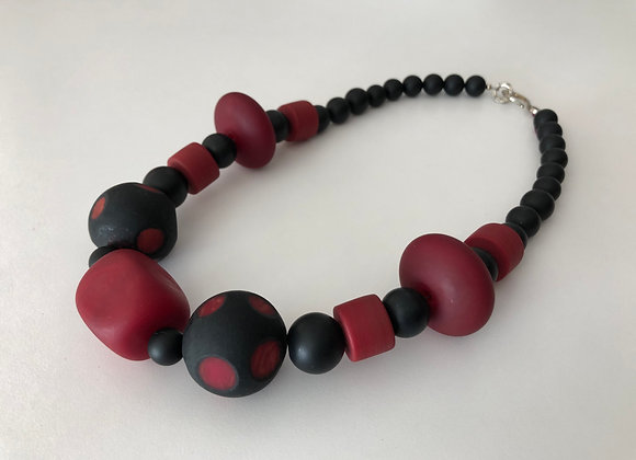 Italian hand blown red and black glass